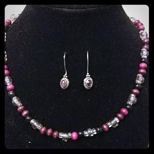 Jewelry - Vintage Hot Pink 2 piece Jewelry Set